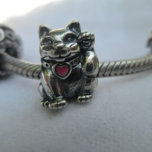 Pandora Lucky Cat Charm 925 ALE Pink Enamel Heart